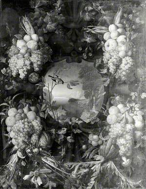 Garland of Fruit Surrounding a Cartouche Opening onto a Landscape