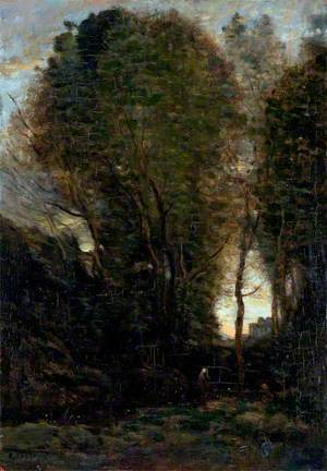Twilight: Landscape with Tall Trees and a Female Figure