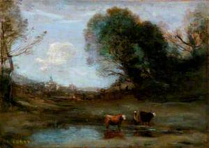 Morning: Landscape with Two Cows and a Figure