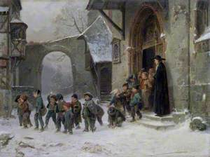Snow Scene: Children Leaving School