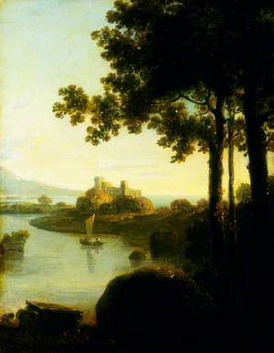 Landscape: Evening, River Scene with a Castle