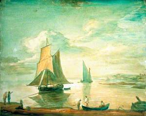 Coastal Scene with Sailing and Rowing Boats and Figures on the Shore