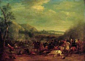 Cavalry Engagement against the Turks, with a Church in the Background