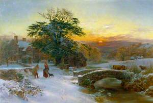 Winter Scene with Cattle and Figures