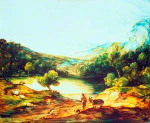 Wooded Upland Landscape with a Shepherd, a Donkey and Scattered Sheep, a Lake and a Distant Village and Hills