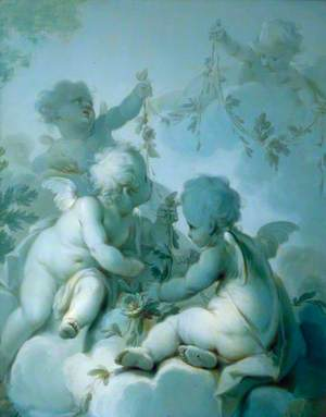 Four Cupids Holding Festoons of Flowers and Foliage