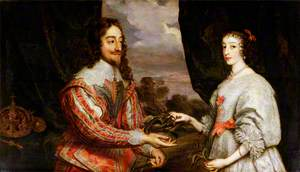Charles I (1600–1649), and Henrietta Maria (1609–1669), with a Laurel Wreath