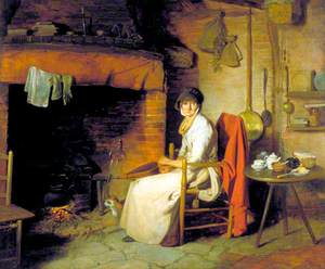 A Cottage Interior: An Old Woman Preparing Tea