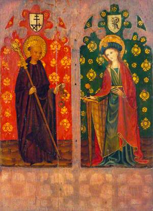 Saint Leonard with a Crozier and Manacles (left panel); Saint Agnes (or Saint Catherine) with a Sword and a Book (right panel)