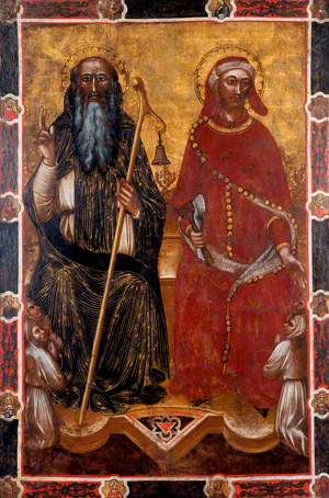 Saint Anthony Abbot and Saint Eligius with Two Pairs of Kneeling Worshippers