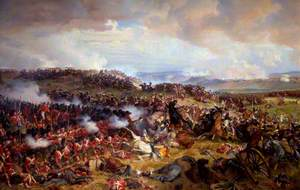 The Battle of Waterloo: The British Squares Receiving the Charge of the French Cuirassiers