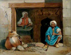 An Egyptian Baker and His Assistant at the Door of a Cake-Shop