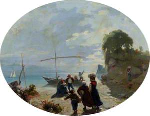 Landscape: The Shore of a Lake, with Figures