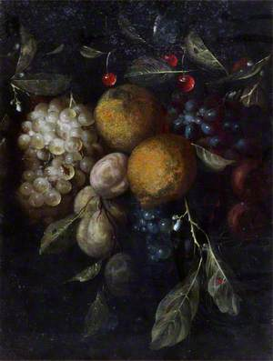 Fruit Piece with Lemons, Grapes, Plums and Cherries