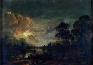 Moonlight Landscape with River