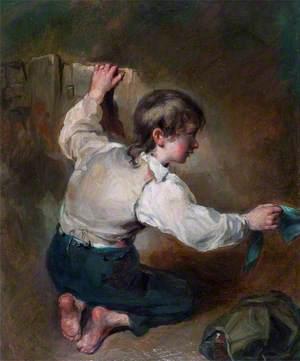 A Kneeling Boy with a Sash