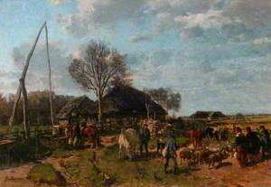 Farm Buildings with Figures, Sheep and Cattle