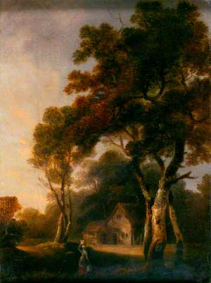 Landscape with a Cottage, and a Milkmaid in the Foreground