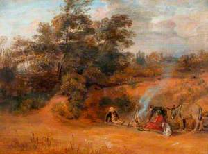 Landscape: Gypsies with Two Donkeys and a Dog
