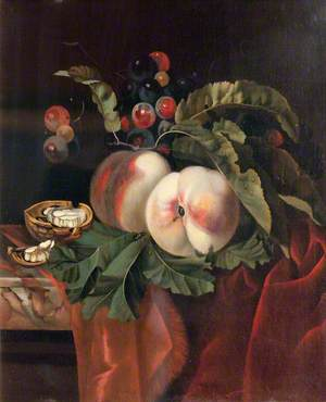 Fruit Piece with Peaches, Grapes and a Walnut