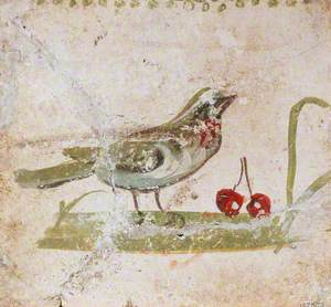 Bird Standing on the Ground with Fruit