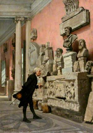 The Archaeologist: Interior at Avignon with a Man Examining Sculpture