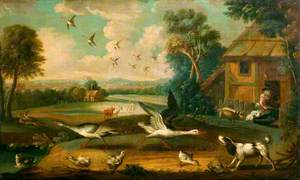 A Farmyard with Birds and Poultry