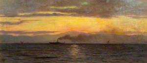 A Steamer on Lake Geneva: Evening Effect