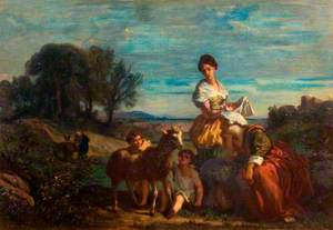 Children Playing with a Lamb