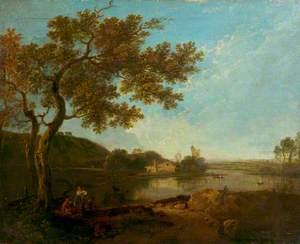 Italian River Scene with Figures