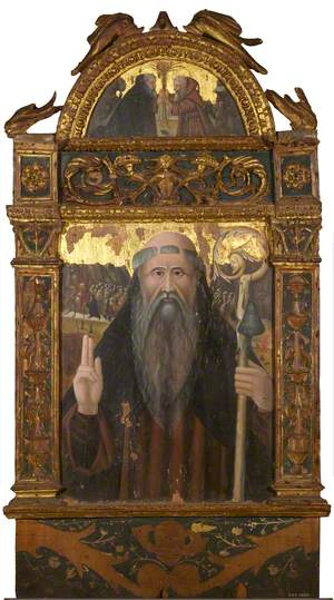 Saint Anthony Abbot (main panel); Saint Paul the Hermit and Saint Anthony in the Desert (lunette) (one side of two-sided panel)