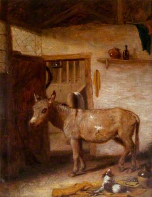A Donkey and a Spaniel in a Stable