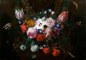 Flowers beneath a Cartouche
