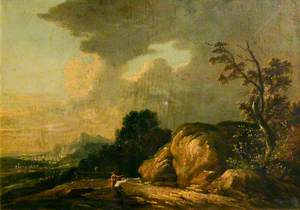 Rocky Landscape with Figures and Mountains