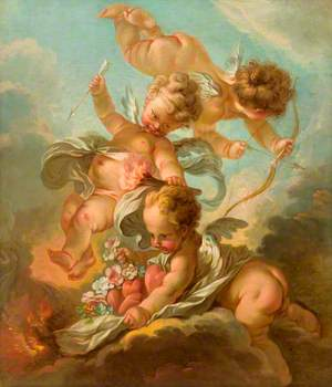 Fire: Three Putti Holding a Bow and Arrow, a Burning Torch, and a Mantle Containing Hearts and Flowers
