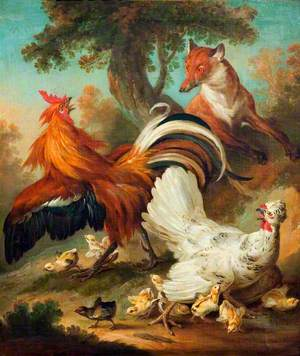 Cock, Hen and Chickens Surprised by a Fox