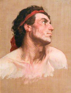 Head of a Man Looking Upwards and Sideways