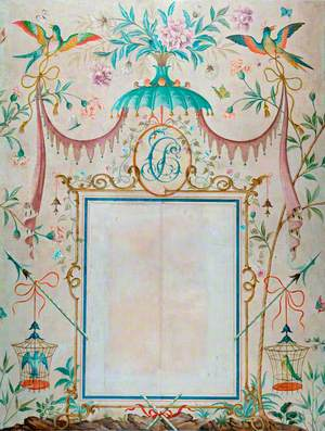 Wallpaper in the Chinoiserie Style, with a Picture Frame as its Central Motif, Painted to House Picasso's 'L'enfant au pigeon'
