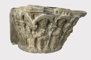 Column Capital Showing Christ and the Apostles