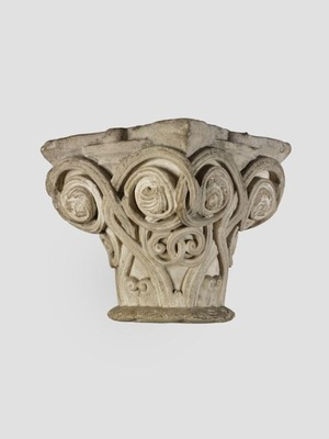 Capital with Scrolls, Human Head and Lion Mask