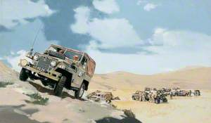 British Army Land Rovers on a Middle East Exercise