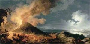 An Eruption of Vesuvius by Moonlight