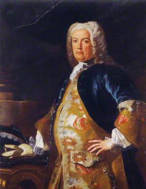 Portrait of a Nobleman, Three-Quarter Length, Leaning His Gloved Right Hand on a Console Table