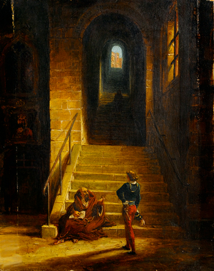 Interior of a Castle, with a Seated Monk