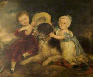 Arthur and Frances Hood, the Children of Sir Arthur Gregory of Styvechale Hall, and 'Nelson'