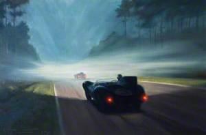 Dawn Mist at Le Mans, D-Type No. 3, Le Mans, France