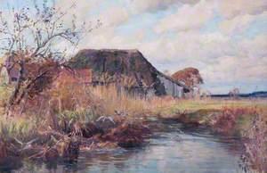 Pond with Farm Buildings