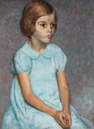 Portrait of a Young Girl in a Blue Dress