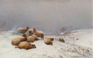 Winter Scene with Sheep