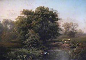 Landscape with River and Sheep